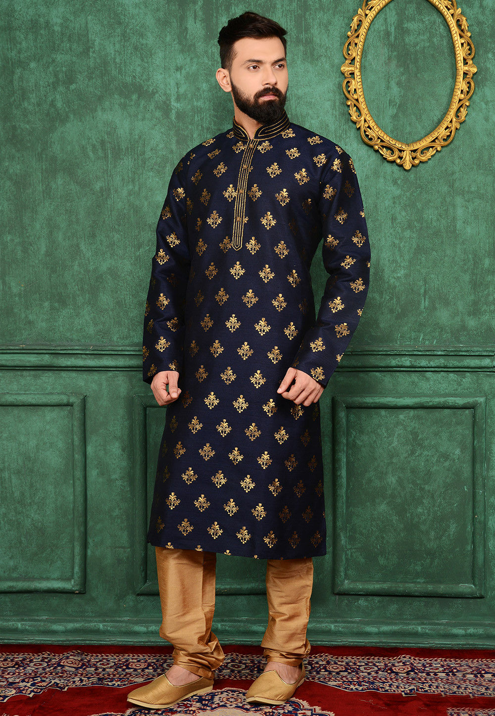 woven art silk jacquard kurta set in navy blue   mgv112