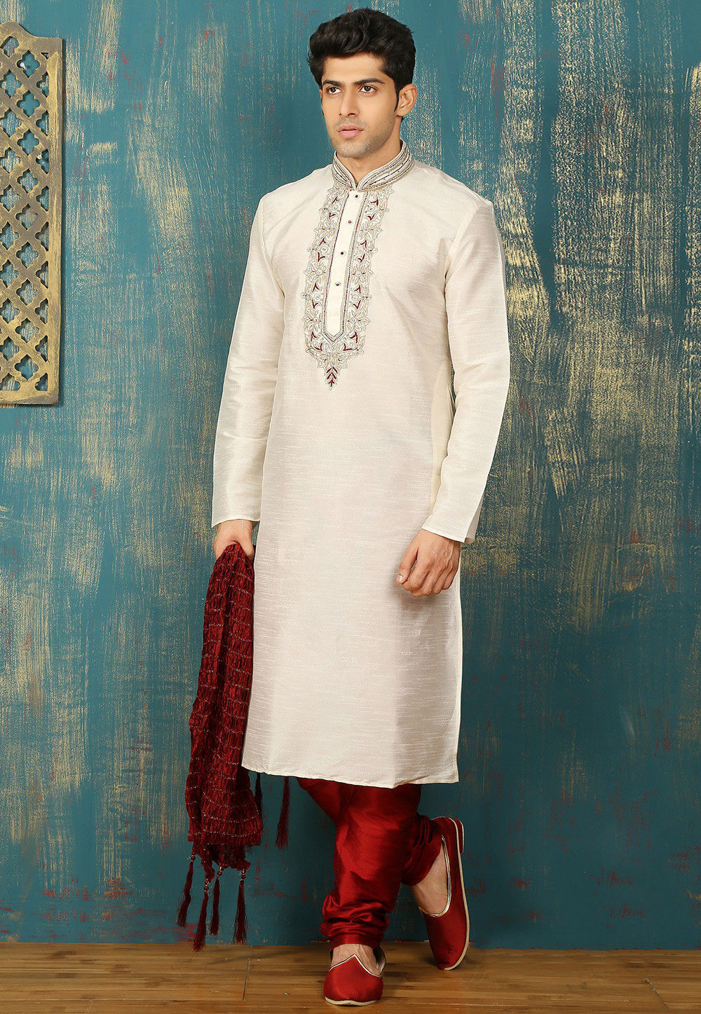 Embroidered Neckline Dupion Silk Kurta Set in Off White