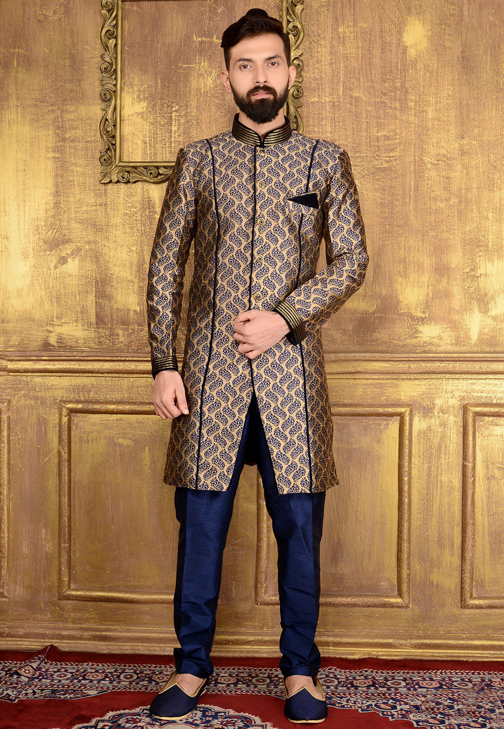 Woven brocade silk sherwani in beige mgv131 for Indian wedding dresses new york