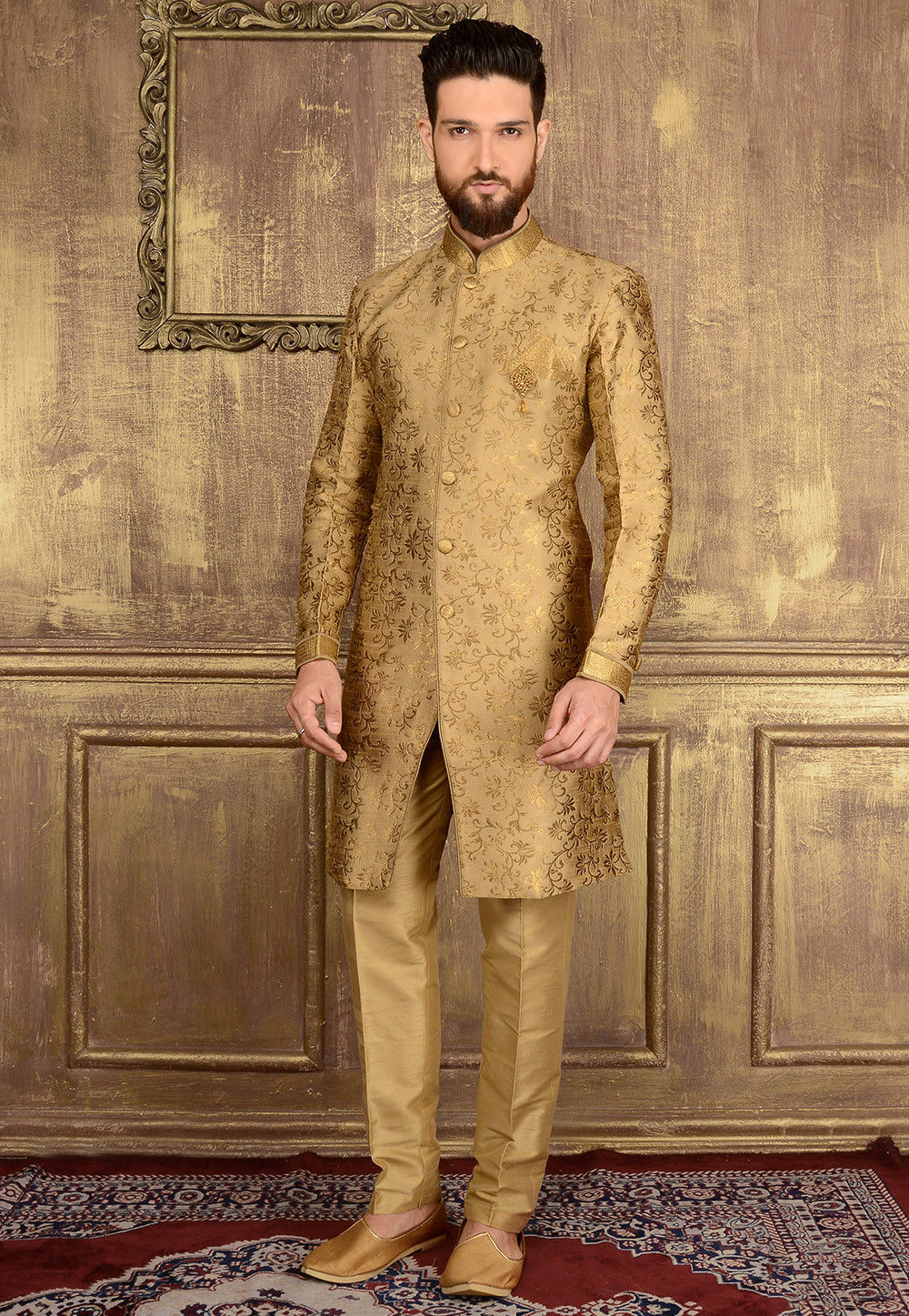 Woven Art Silk Jacquard Sherwani In Beige Mgv132