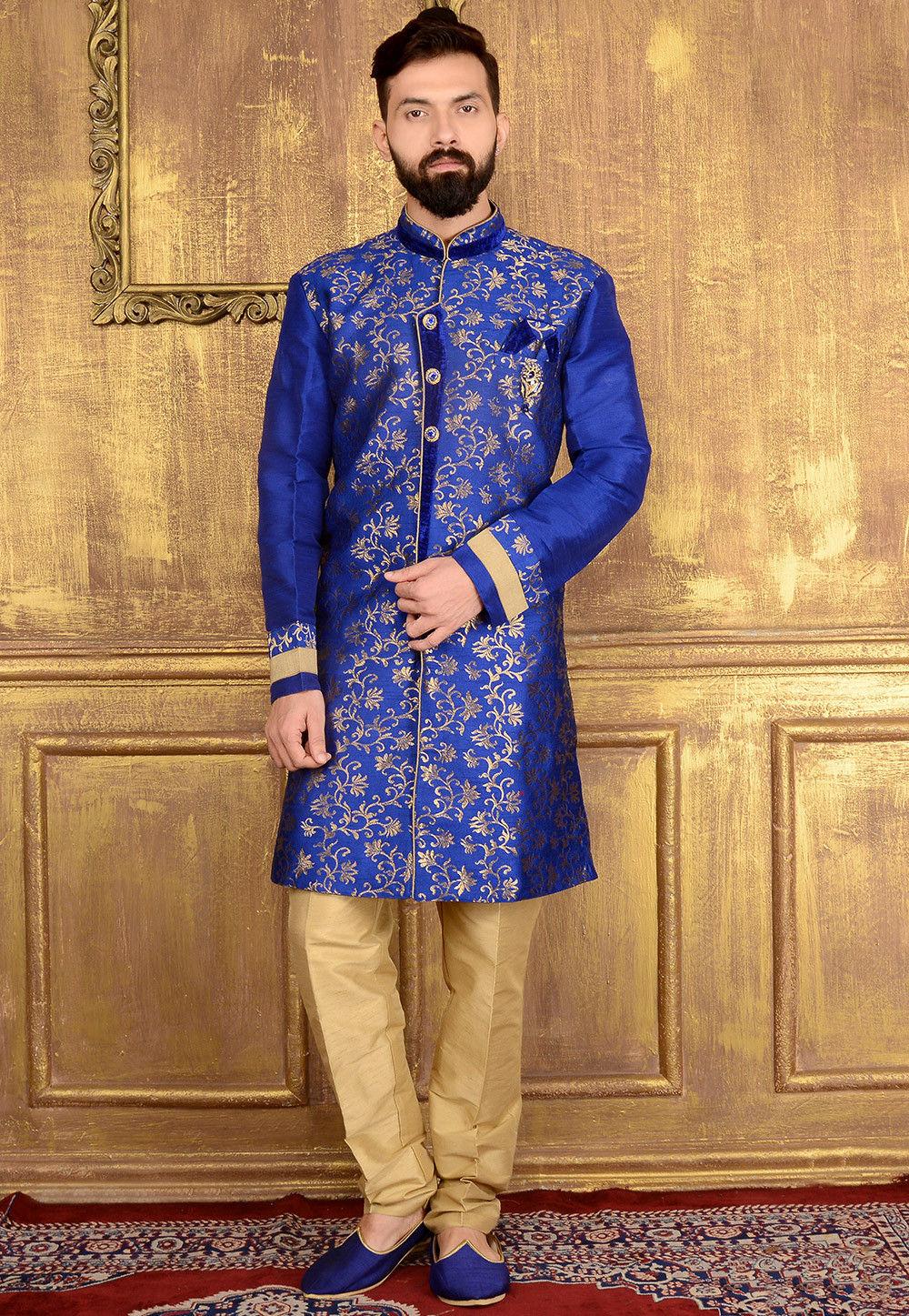 Woven Art Silk Jacquard Sherwani In Blue Mgv133