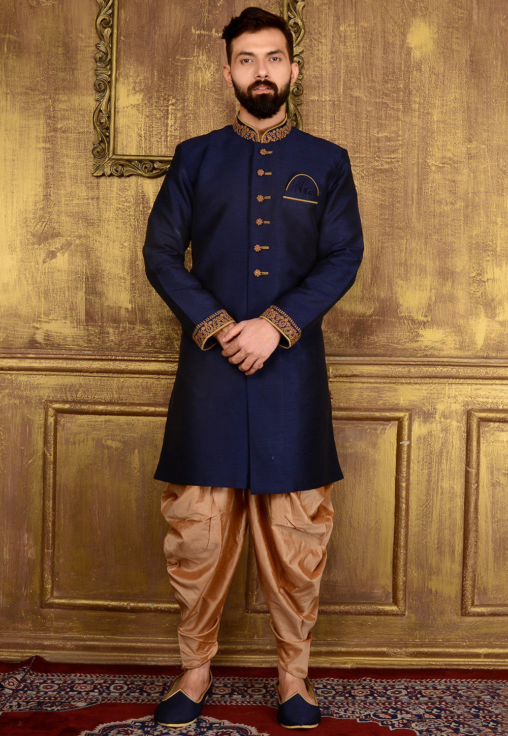 Plain Art Silk Sherwani in Blue : MGV147