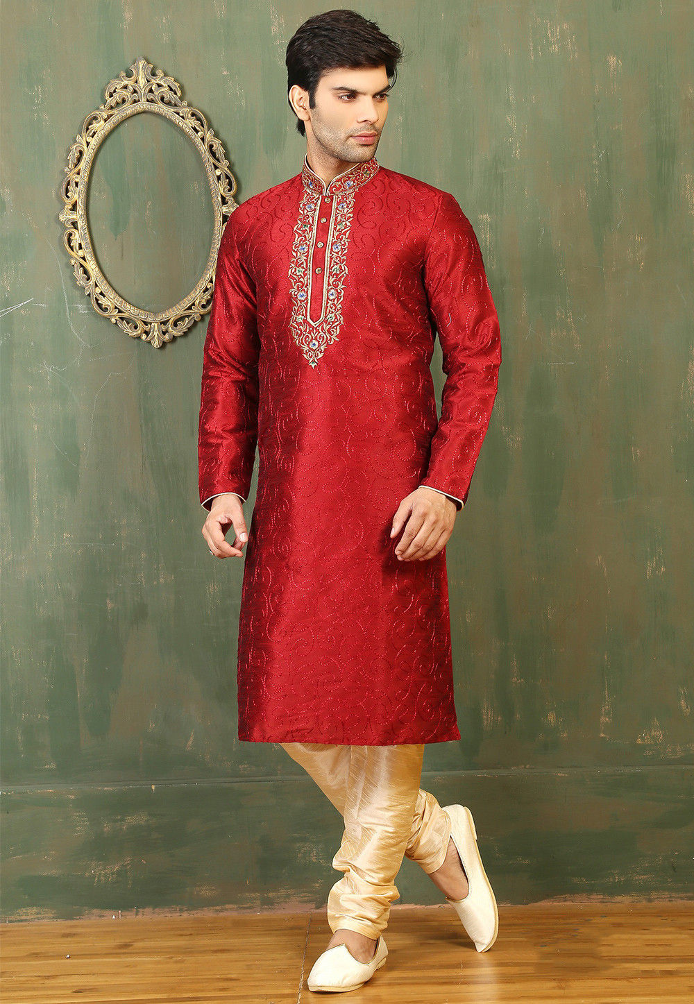 Embroidered Neckline Dupion Silk Kurta Set in Maroon