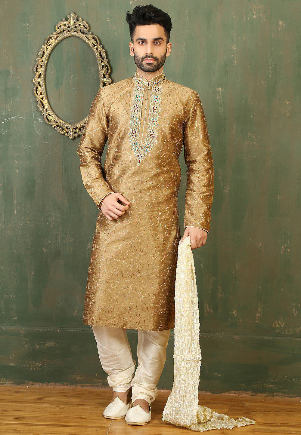 Embroidered Neckline Dupion Silk Kurta Set in Beige