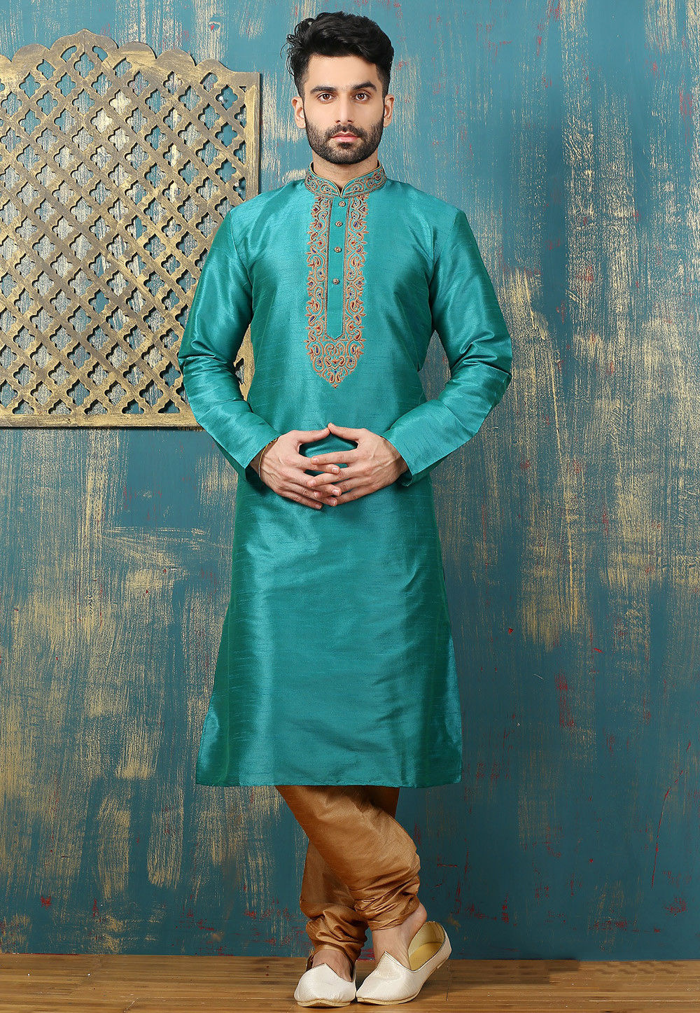 Embroidered Neckline Dupion Silk Kurta Set In Teal Blue Mgv3