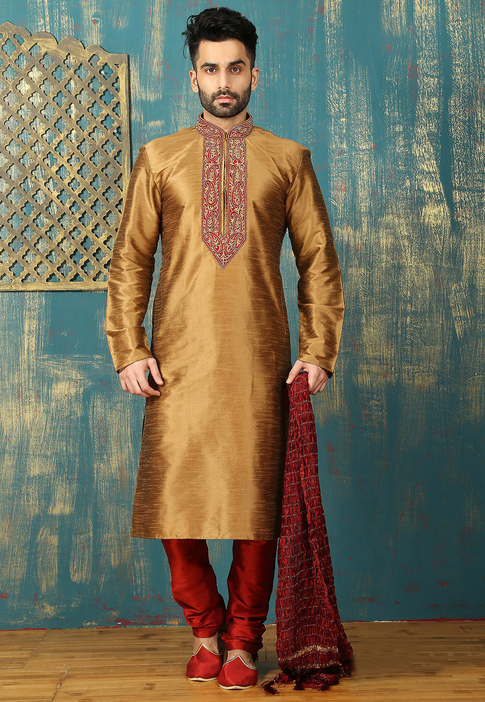 Embroidered Neckline Dupion Silk Kurta Set in Dark Beige