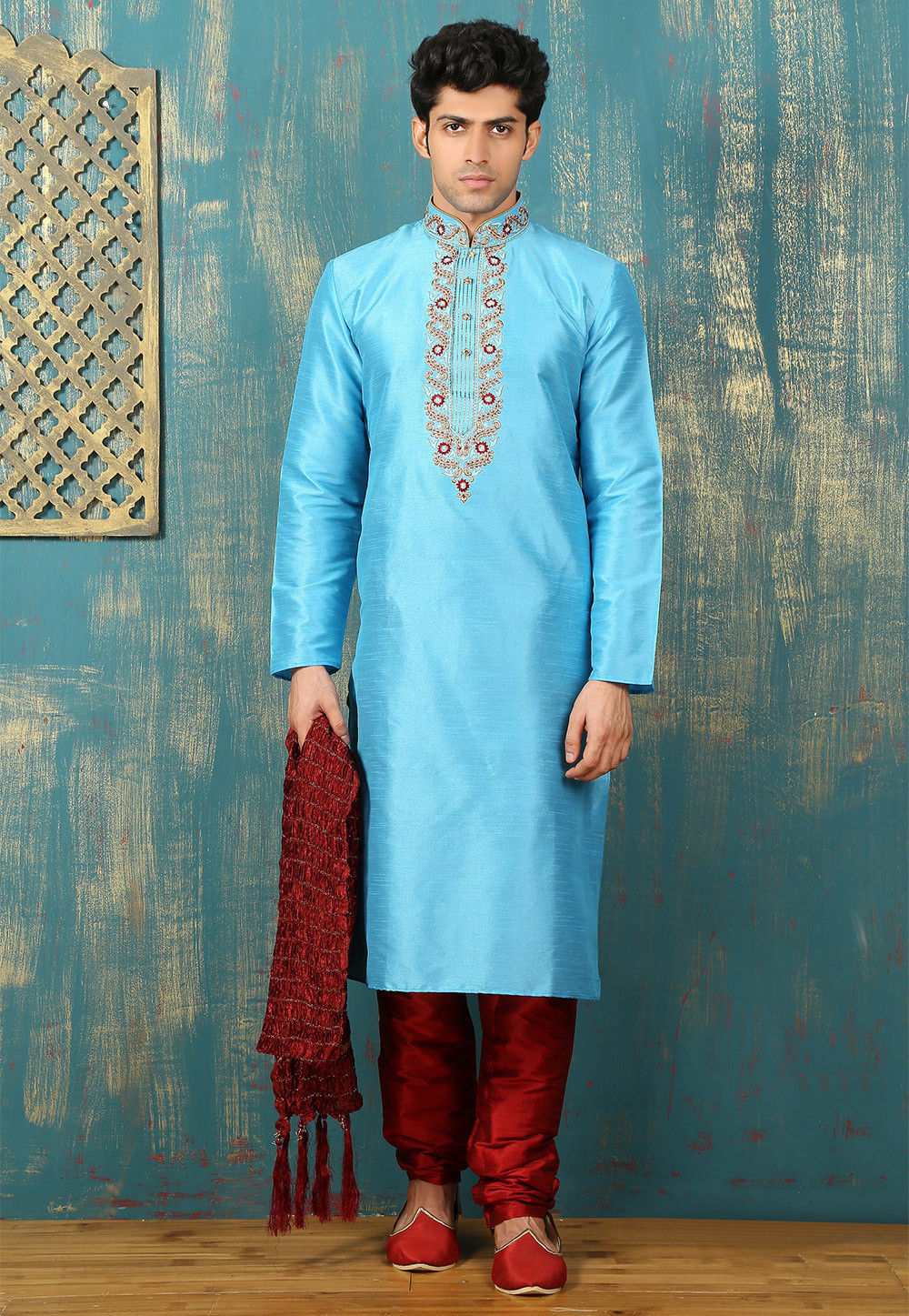Embroidered Neckline Dupion Silk Kurta Set in Sky Blue