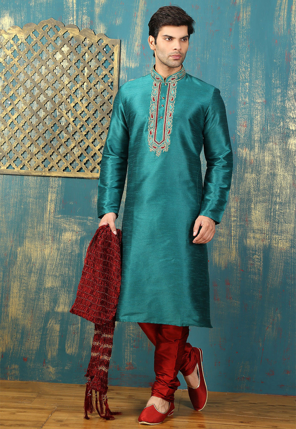 Embroidered Neckline Dupion Silk Kurta Set in Teal Blue