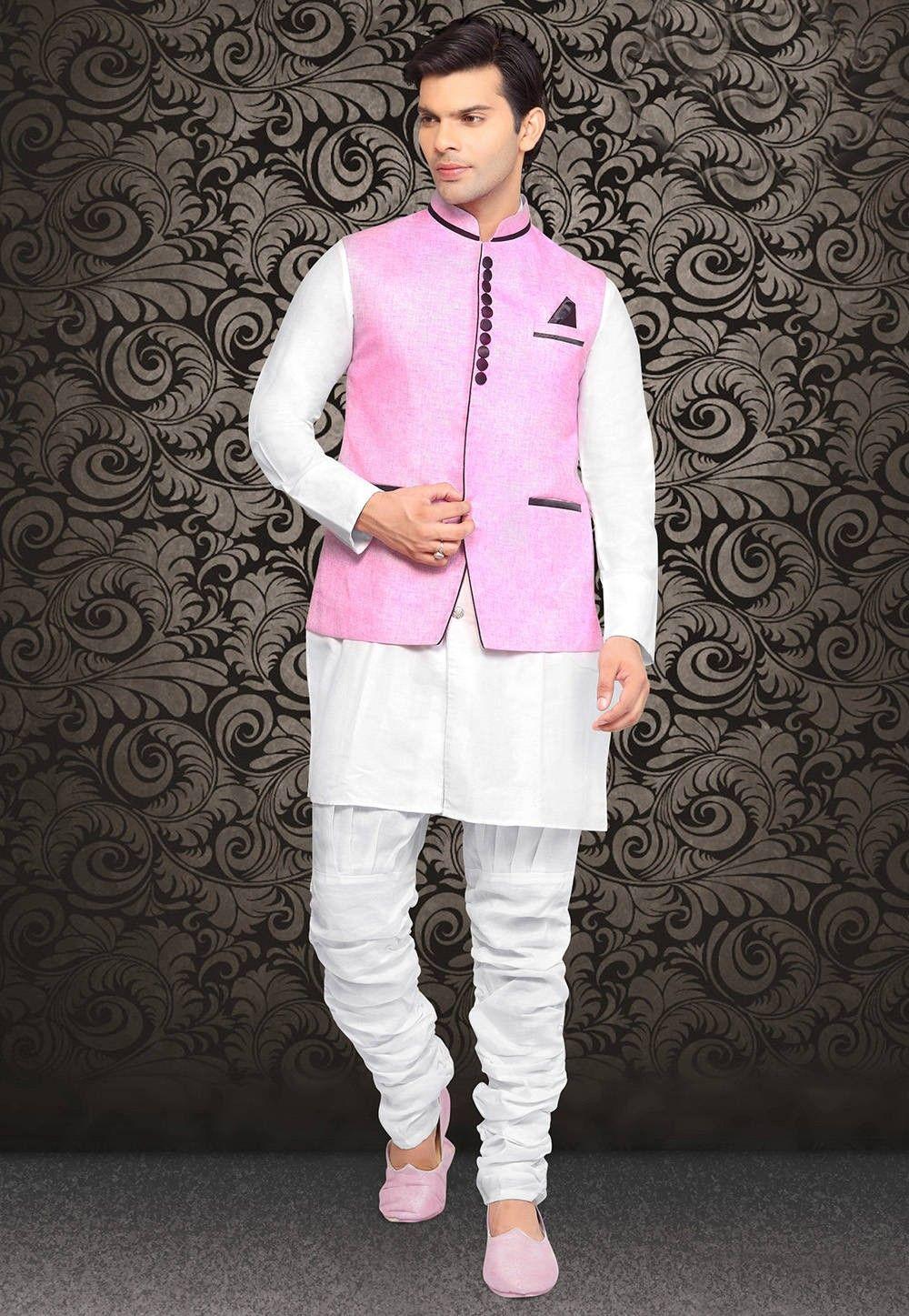 Linen Nehru Jacket in Pink