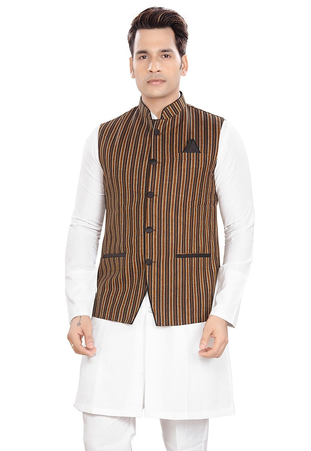 Woven Cotton Nehru Jacket in Multicolor