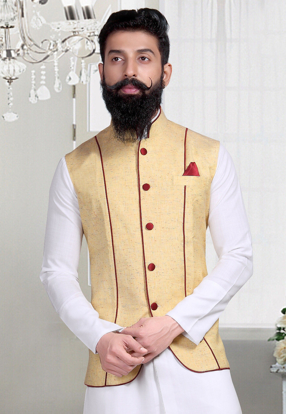 Plain Linen Silk Nehru Jacket in Light Yellow