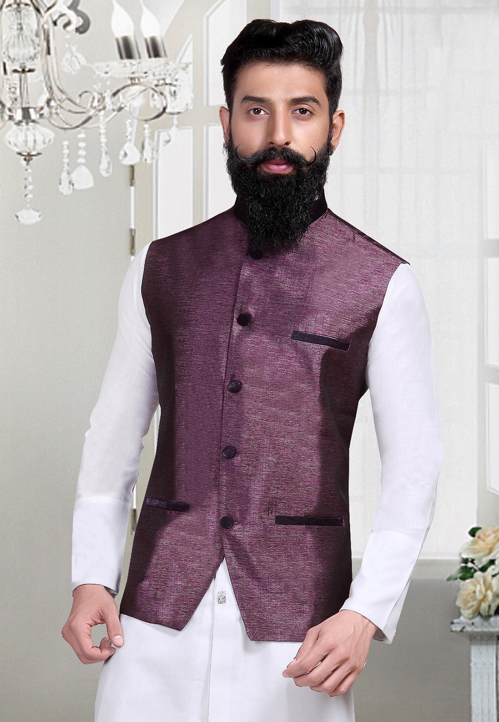 Woven Art Silk Jacquard Nehru Jacket in Wine