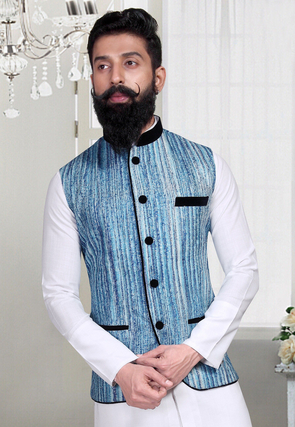 Woven Art Silk Jacquard Nehru Jacket in Blue and White