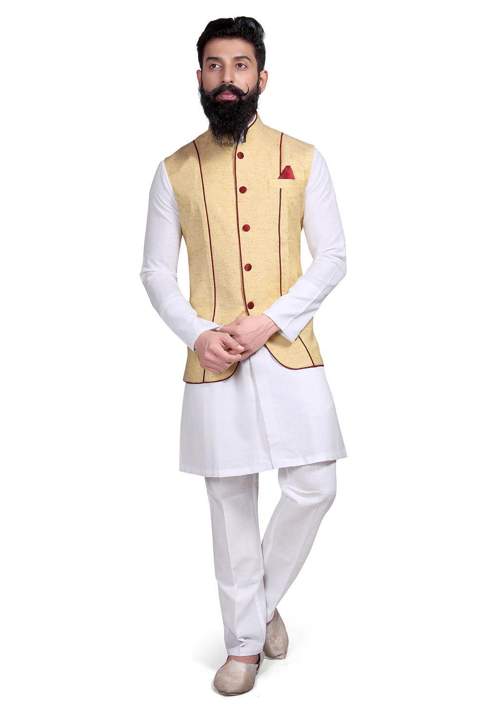Plain Linen Cotton Kurta Set in White