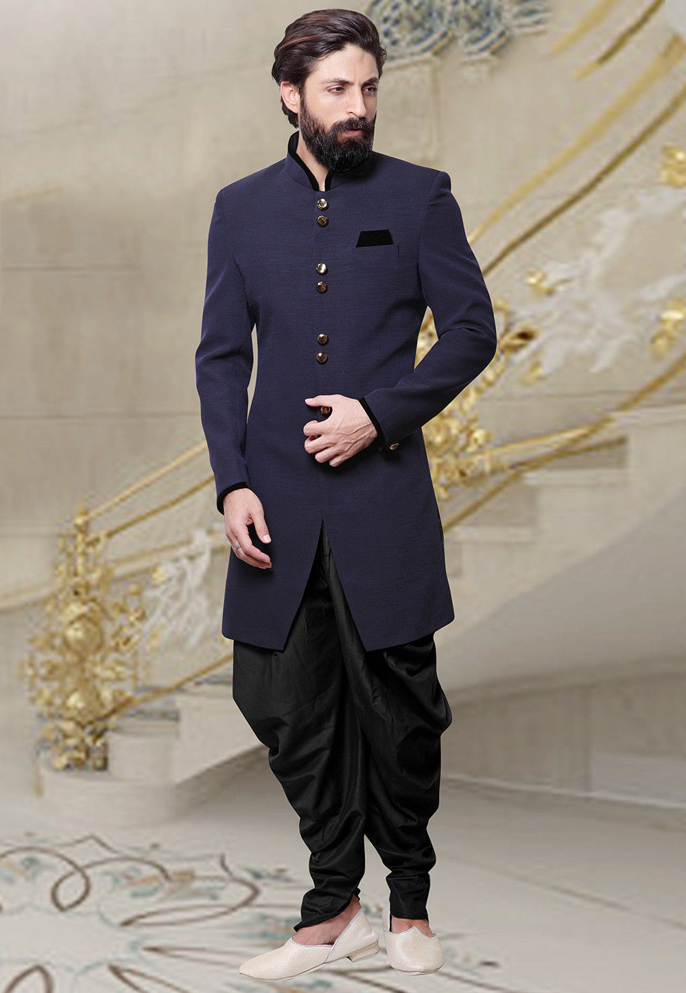 Plain Khadi Dhoti Sherwani in Navy Blue : MHG503