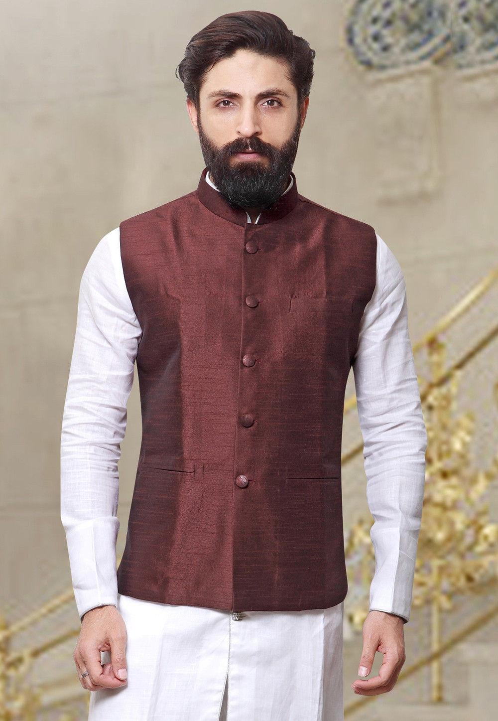 Plain Art Silk Nehru Jacket in Dark Maroon