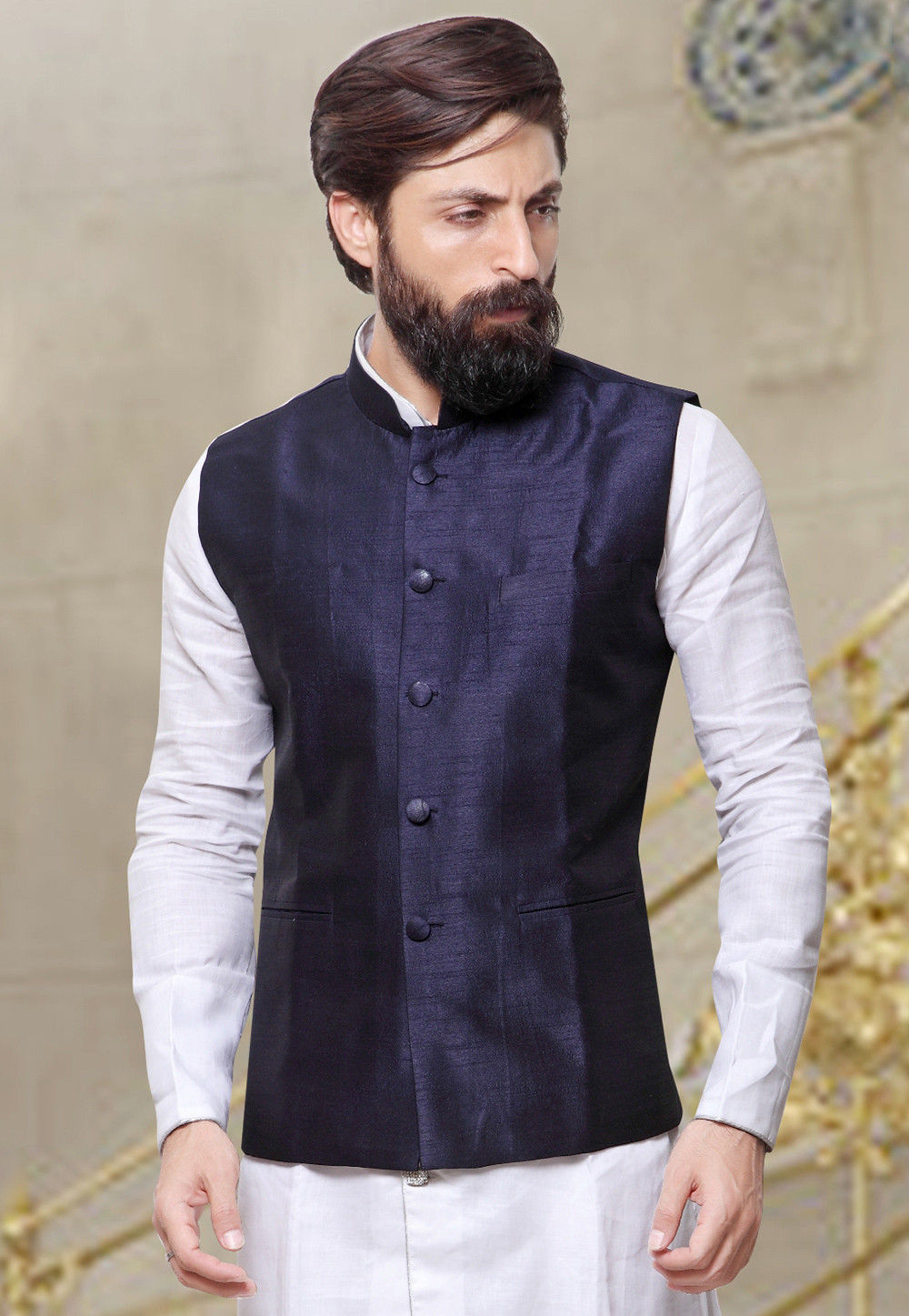 Plain Art Silk Nehru Jacket in Navy Blue