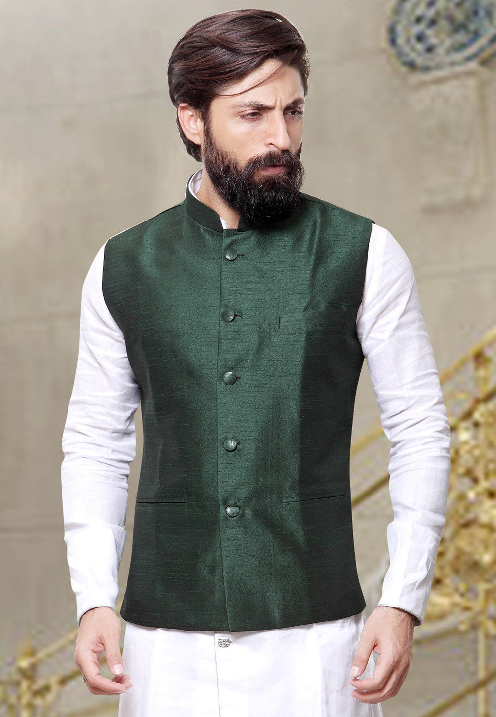 Plain Art Silk Nehru Jacket in Dark Green