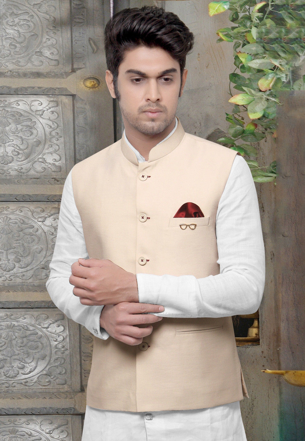 Plain Terry Cotton Nehru Jacket in Cream