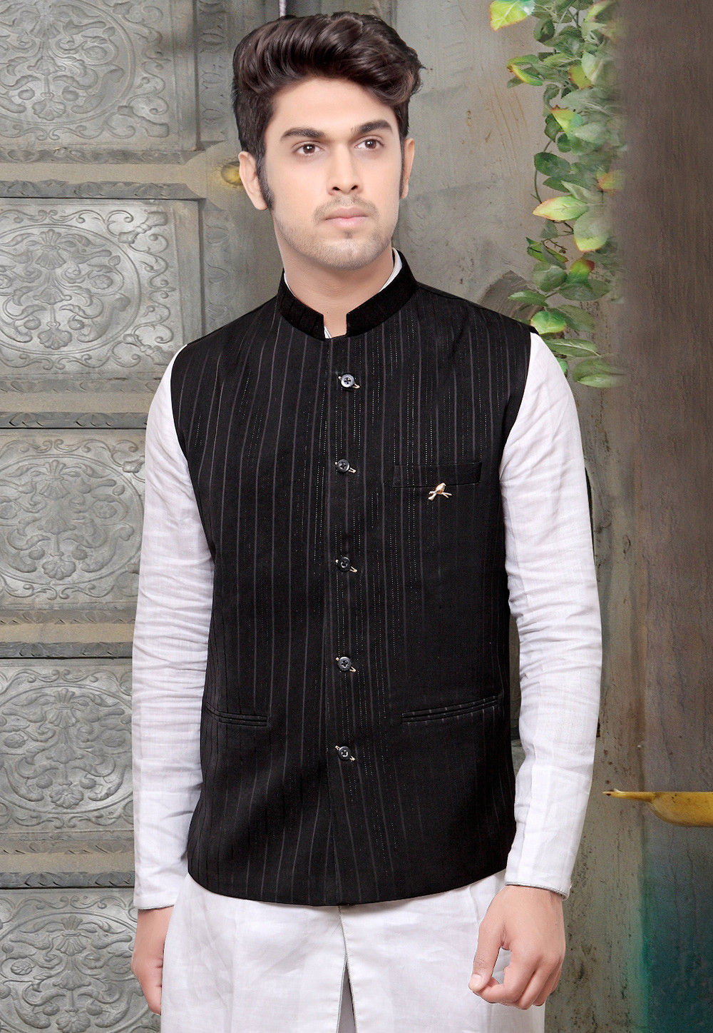 Woven Terry Cotton Jacquard Nehru Jacket in Black