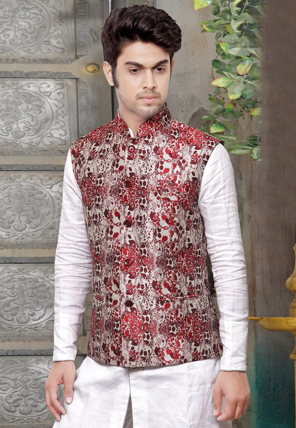 Art Silk Jacquard Nehru Jacket in Red and Off White