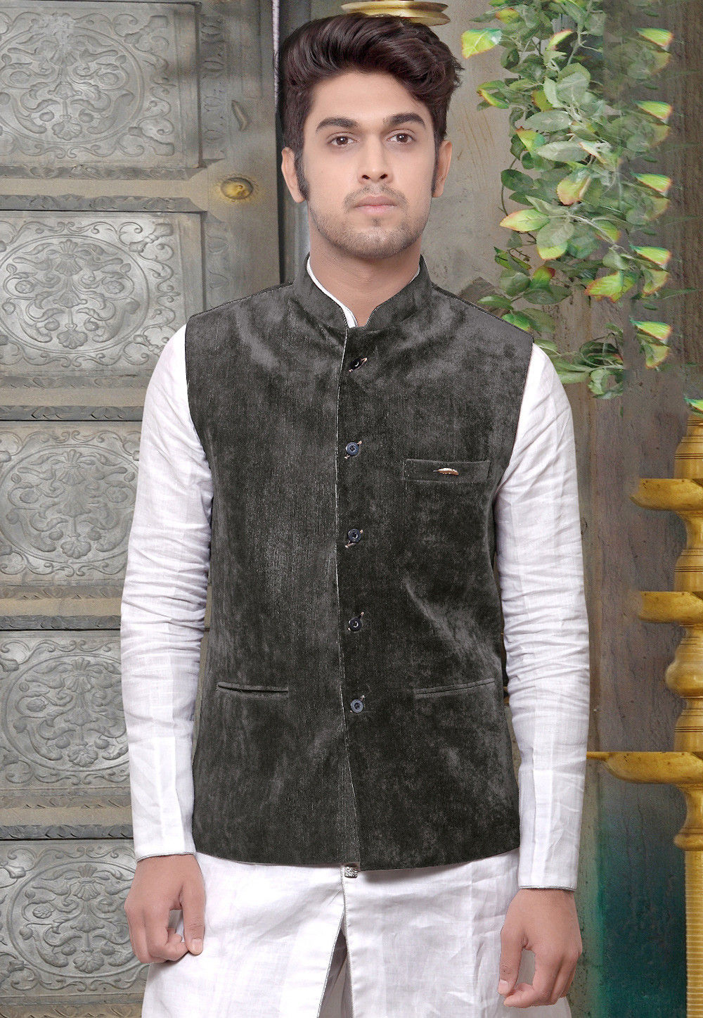 Plain Velvet Nehru Jacket in Dark Grey