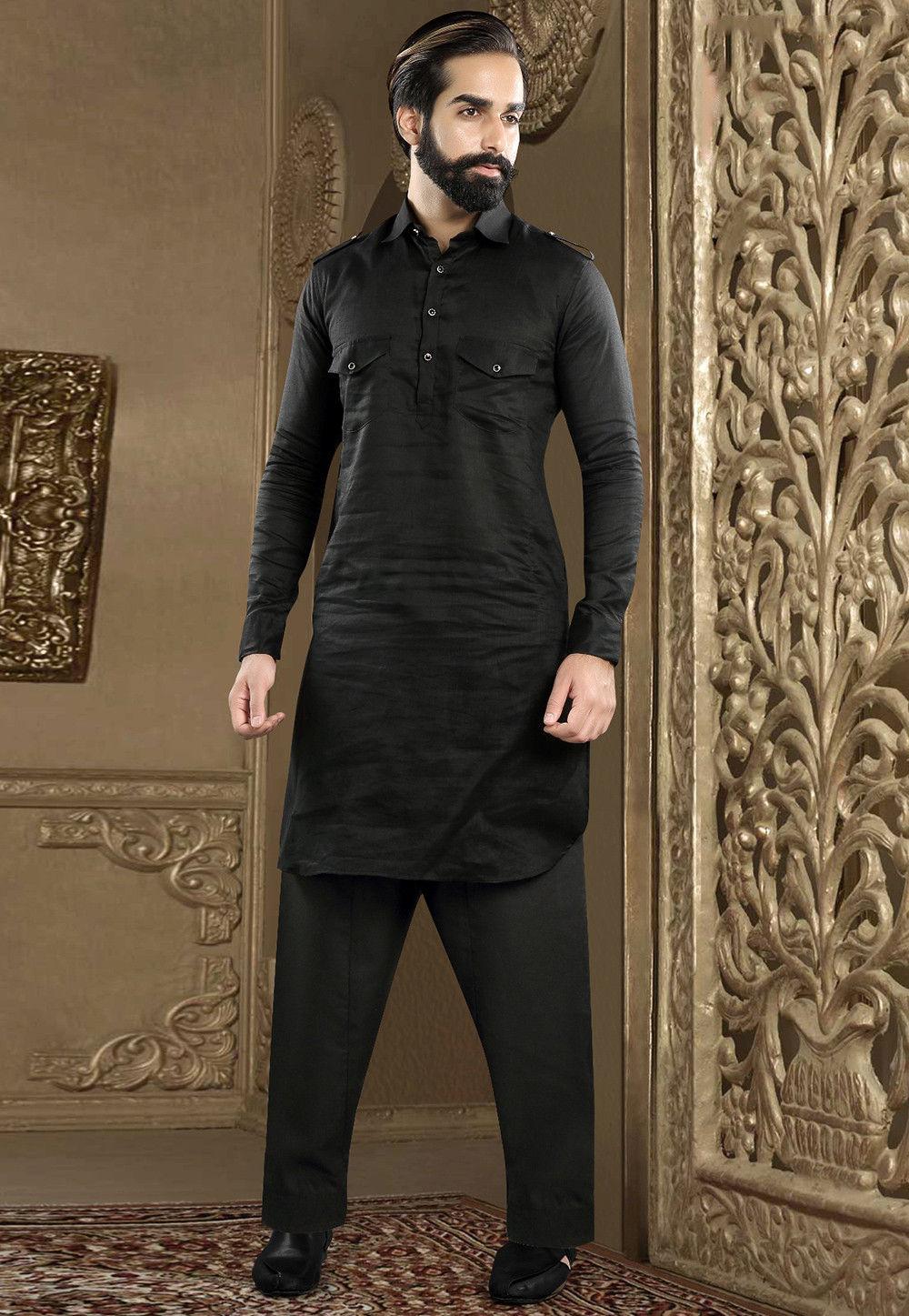 Plain Linen Kurta Pajama In Black Mhg695
