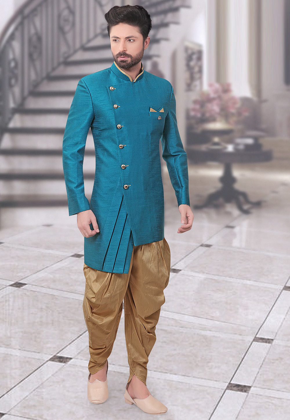 Plain Art Silk Sherwani in Light blue : MHG741