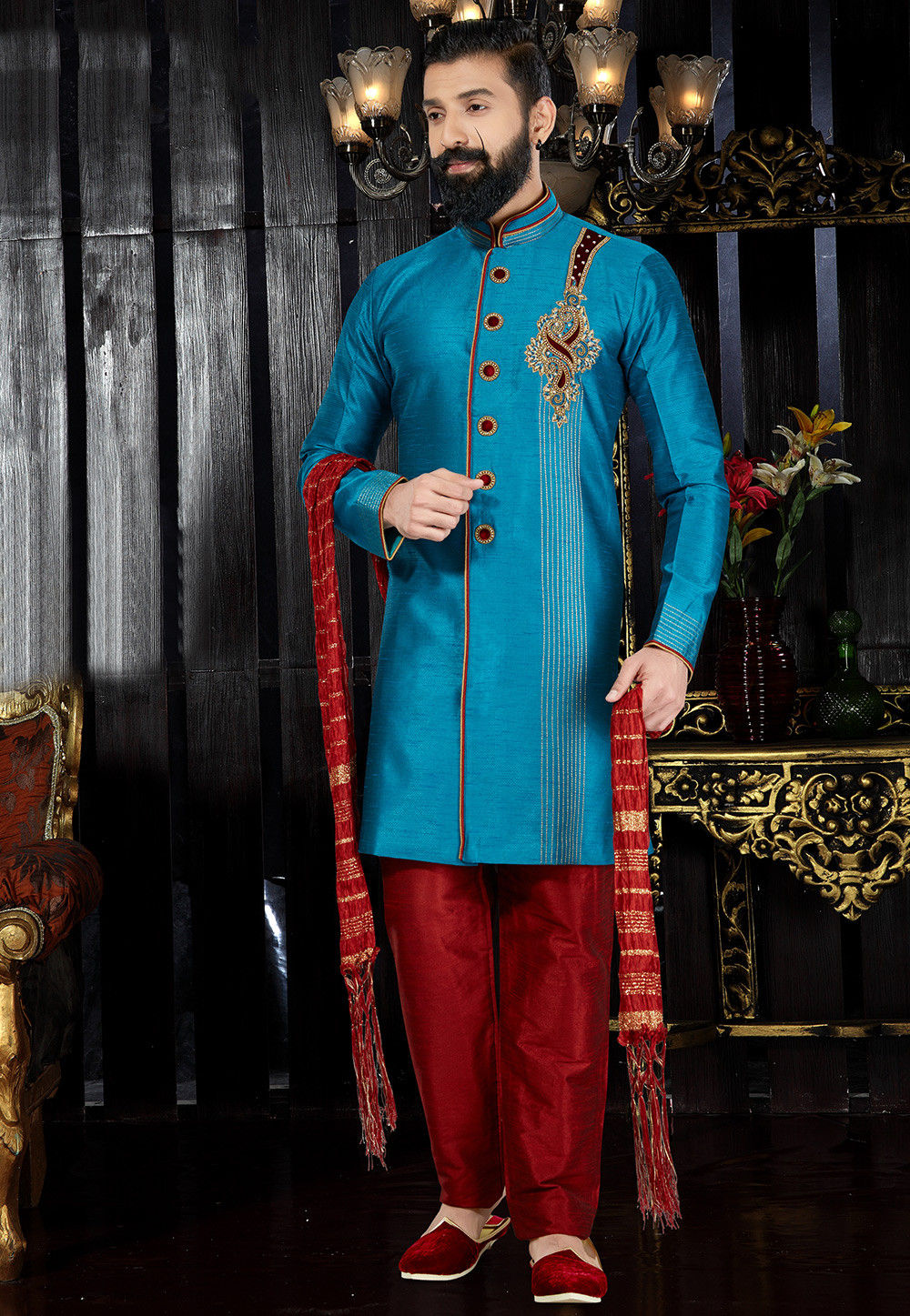 Hand Embroidered Art Silk Sherwani in Light Blue : MMQ11