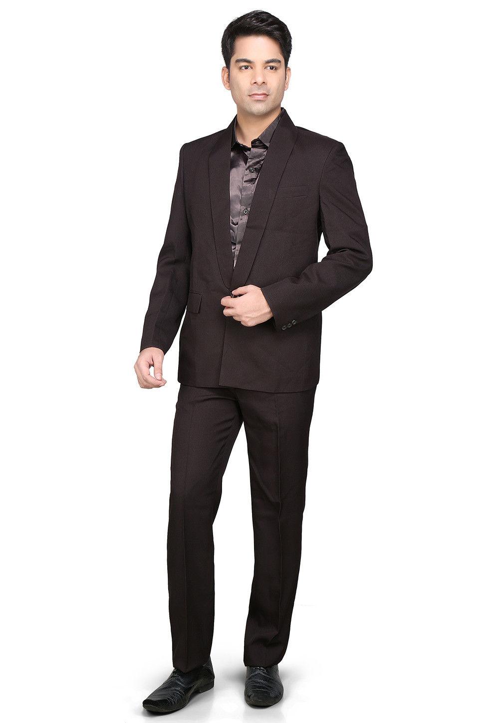 Plain Satin Jacket Set in Dark Brown