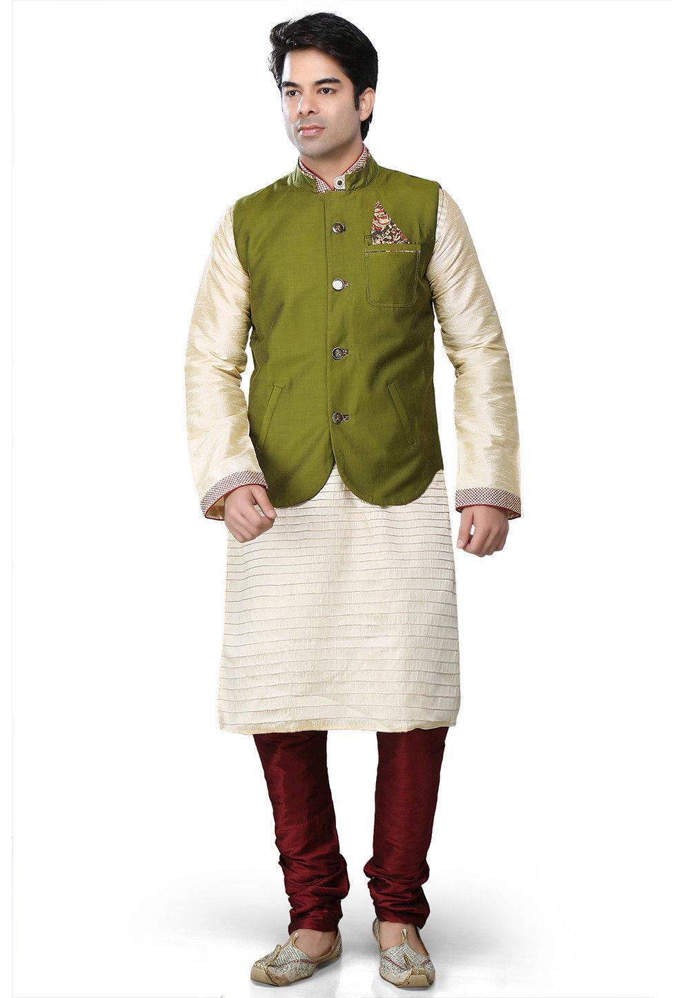 Pure Cotton Silk Nehru Jacket in Green
