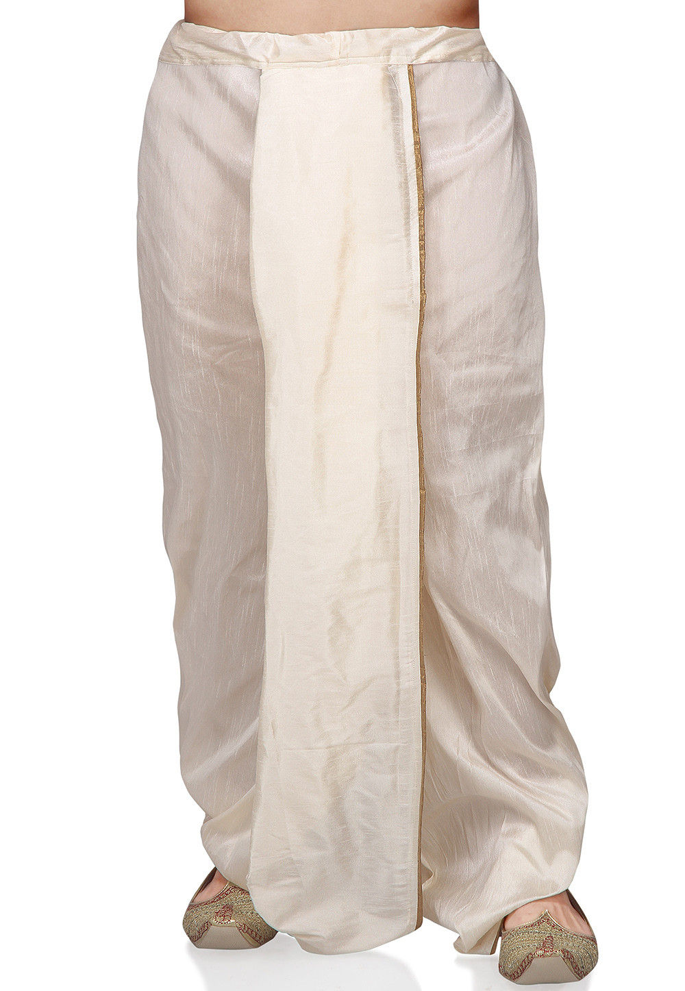 Plain Dupion Silk Dhoti in Off White
