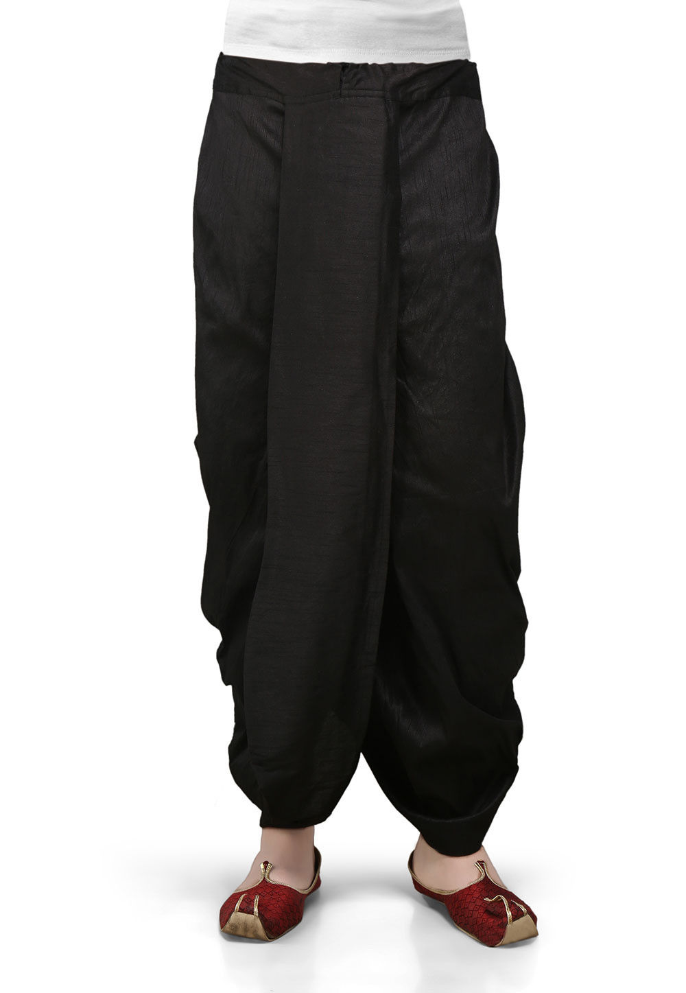Dupion Silk Dhoti in Black