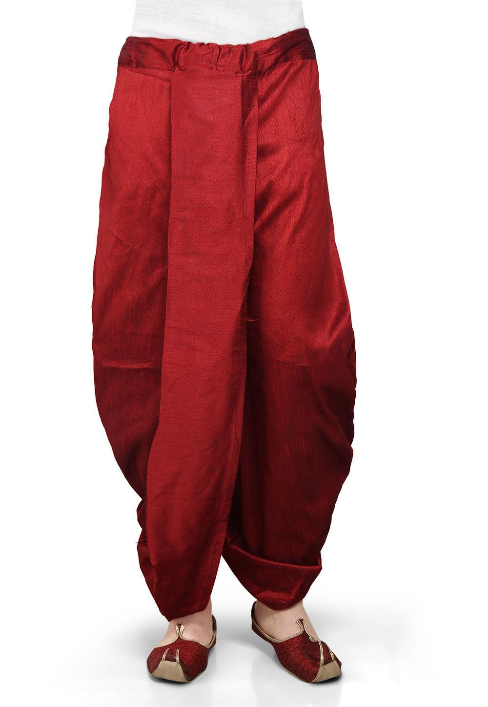 Plain Dupion Silk Dhoti in Maroon