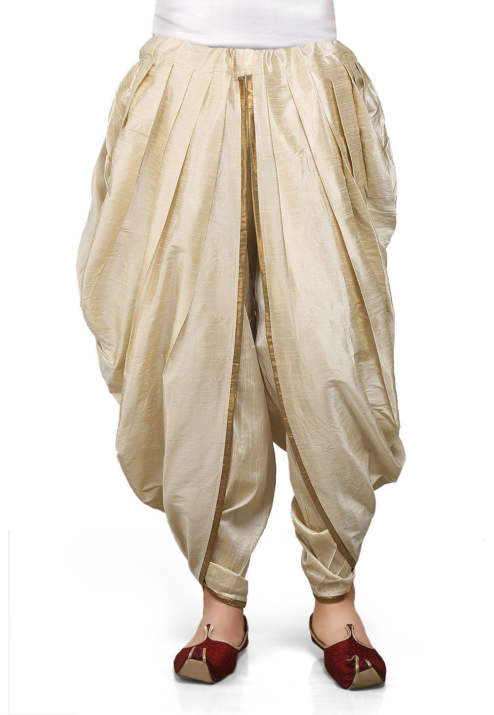 Dupion Silk Dhoti in Light Beige