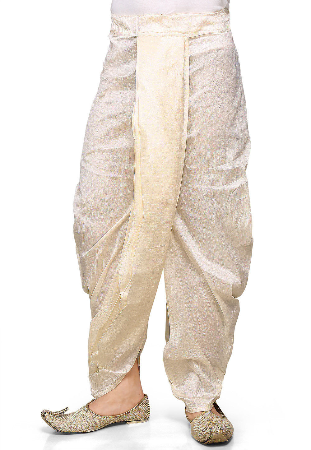 Dupion Silk Dhoti in Off White