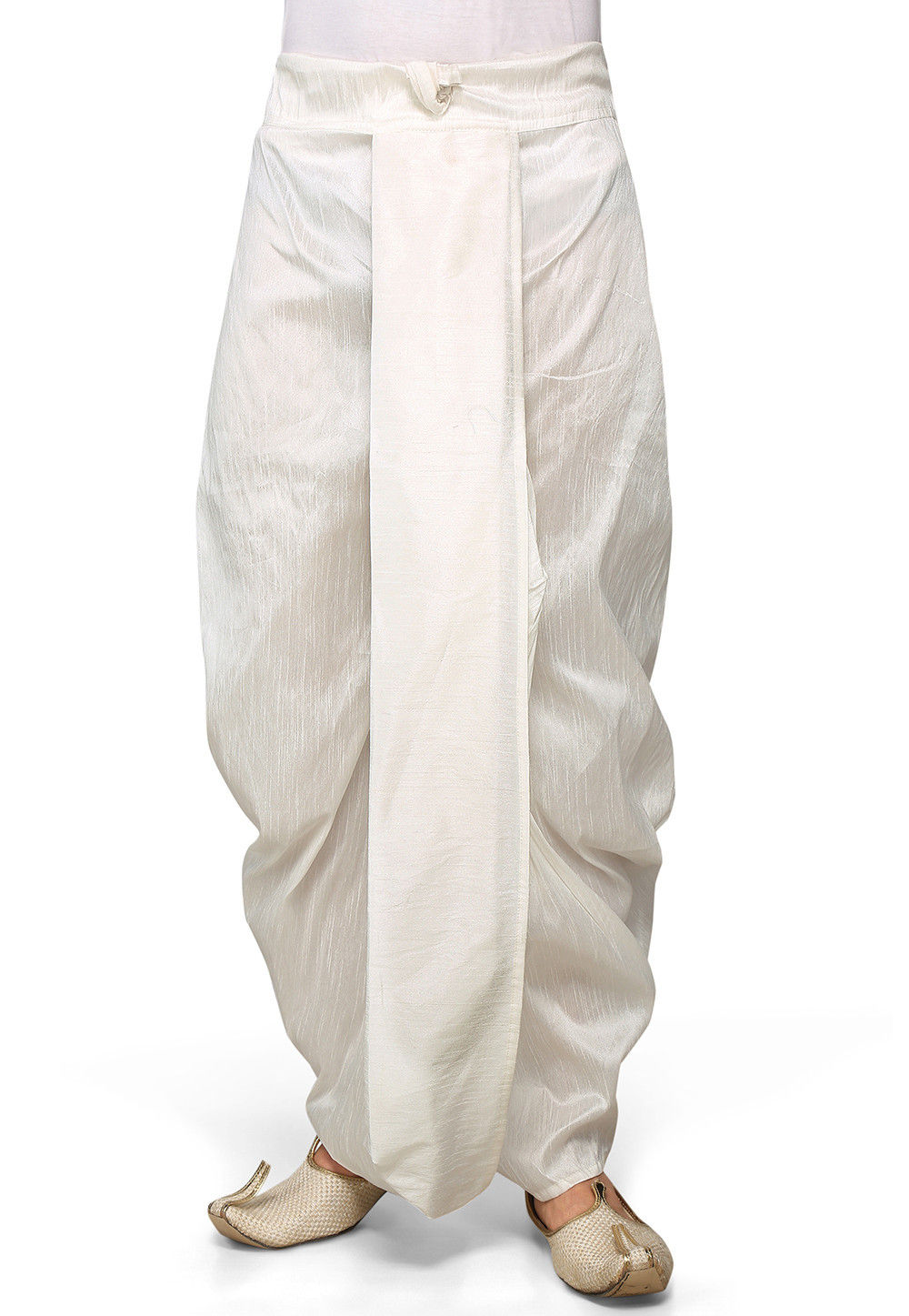 Dupion Silk Dhoti in White