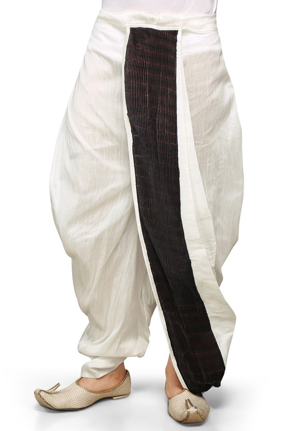Plain Dupion Silk and Crushed Satin Dhoti in White