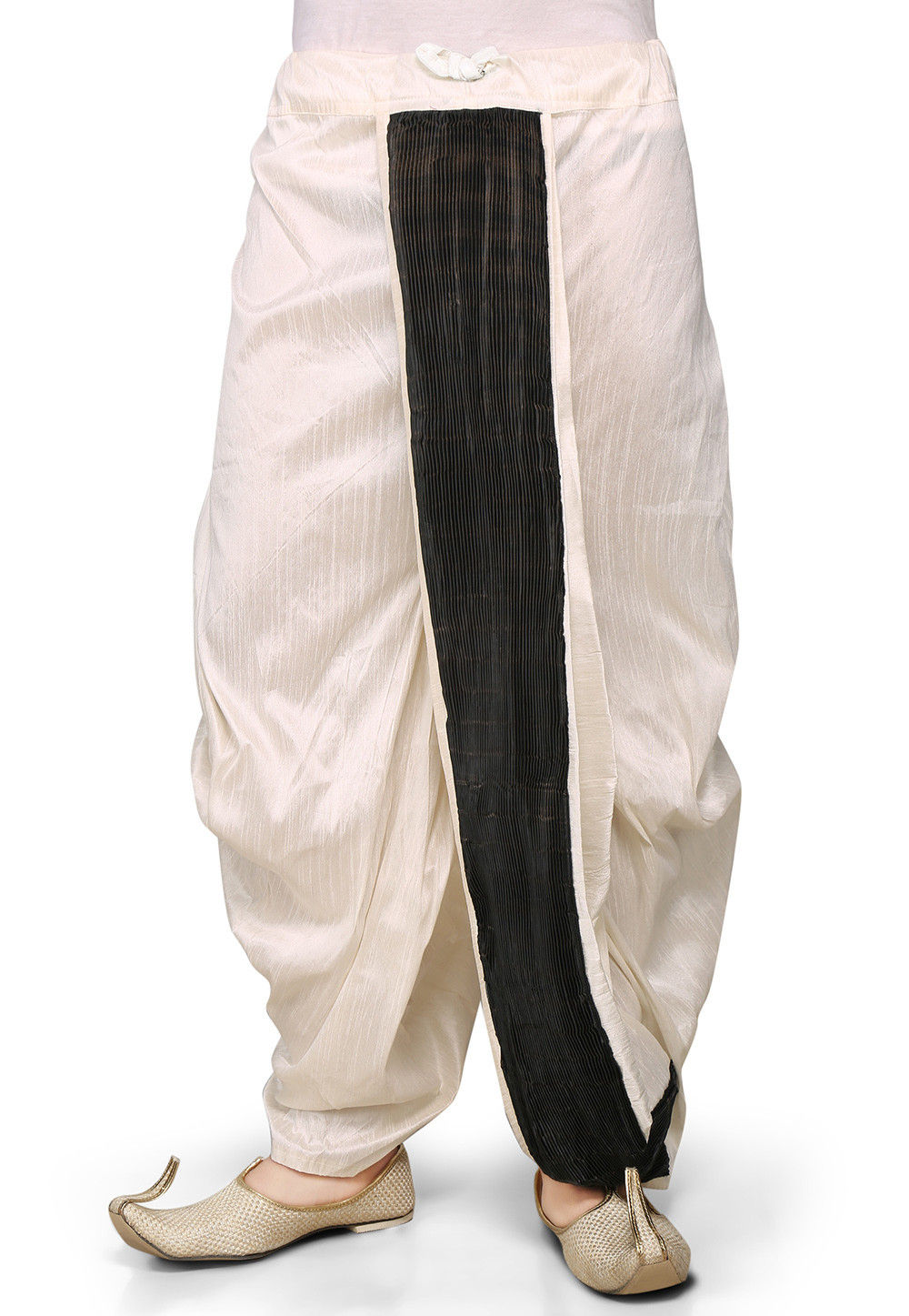 Dupion Silk and Crushed Satin Dhoti in Off White
