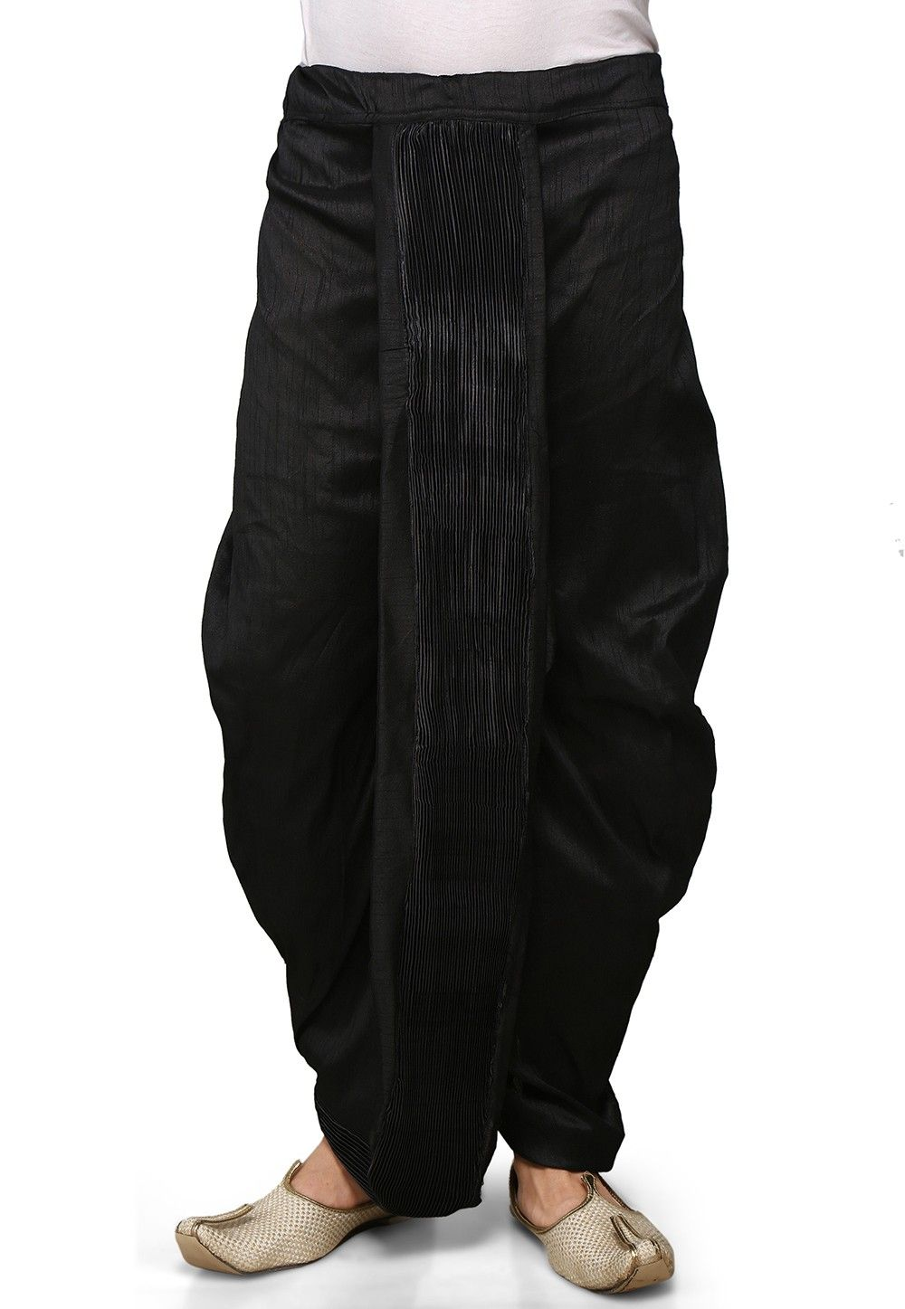 Dupion Silk and Crushed Satin Dhoti in Black