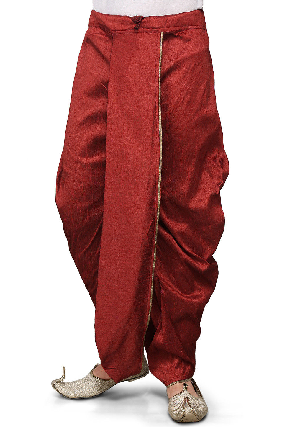 Dupion Silk Dhoti in Red