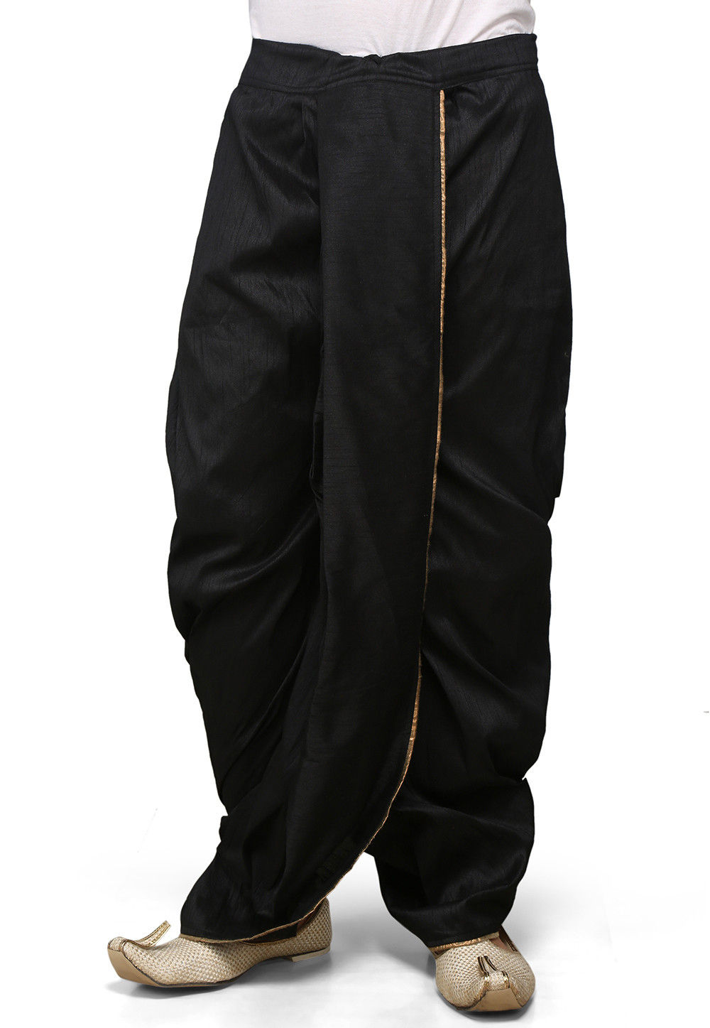 Dupion Silk Dhoti in Black