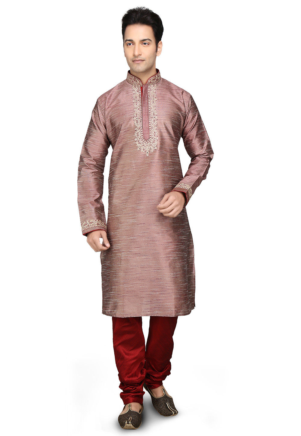 Embroidered Dupion Silk Kurta Set in Old Rose