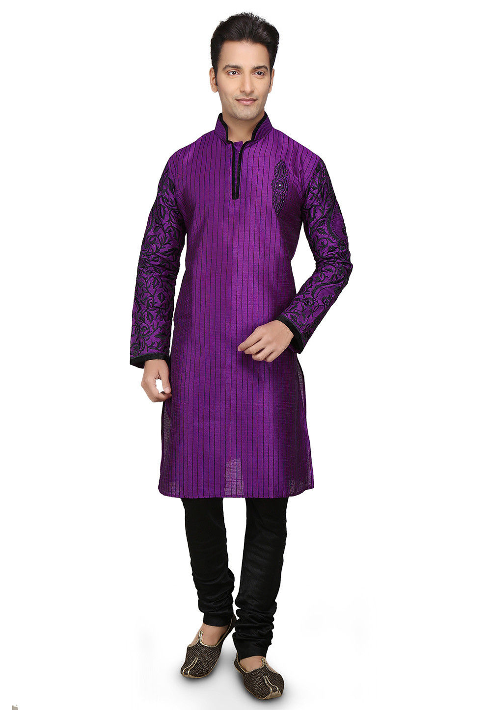 Embroidered Dupion Silk Kurta Set in Purple