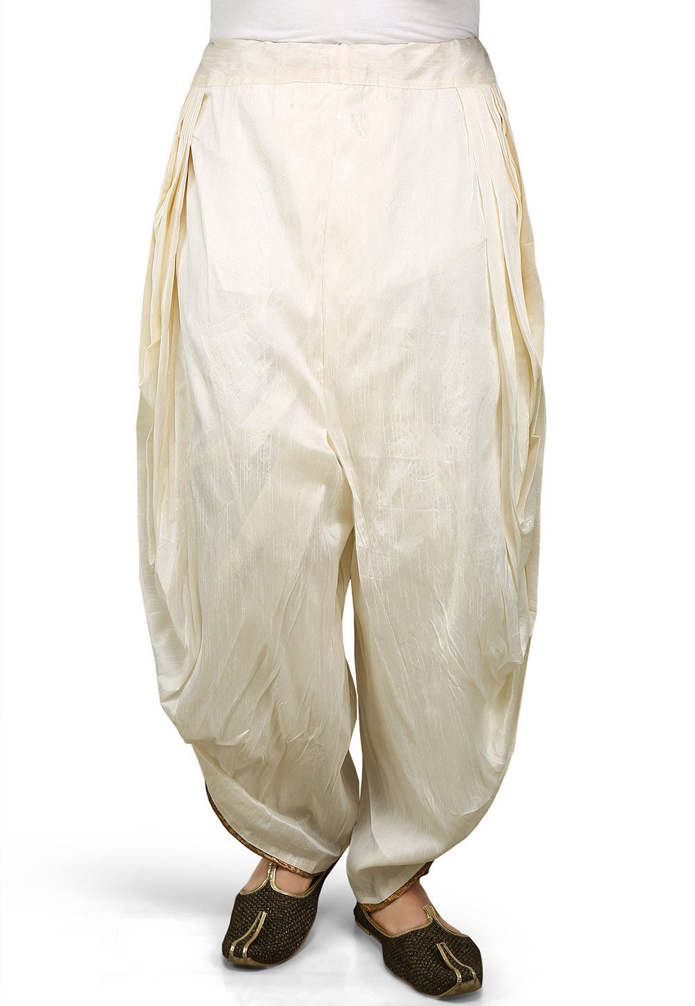 Plain Dupion Silk Dhoti Pant in Off White