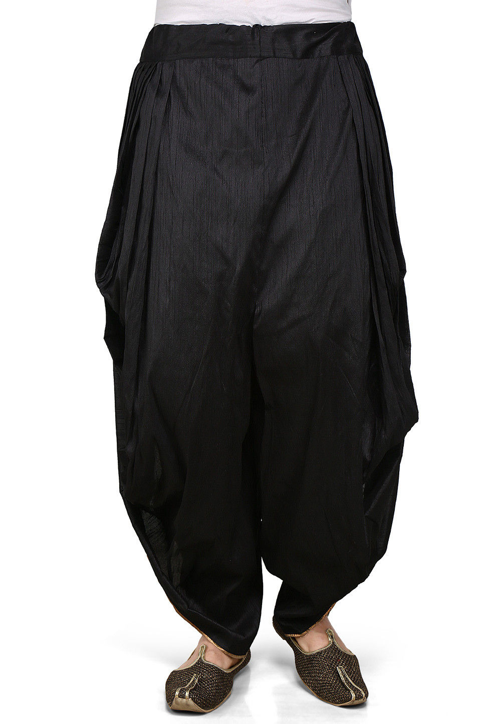 Plain Dupion Silk Dhoti Pant in Black