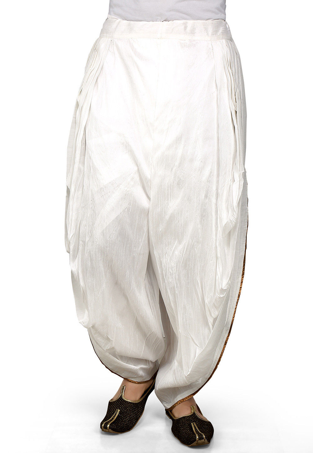 Plain Dupion Silk Dhoti Pant in White