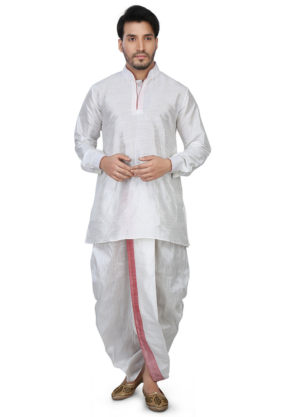 Contrast Patch Border Dupion Silk Short Dhoti Kurta in White