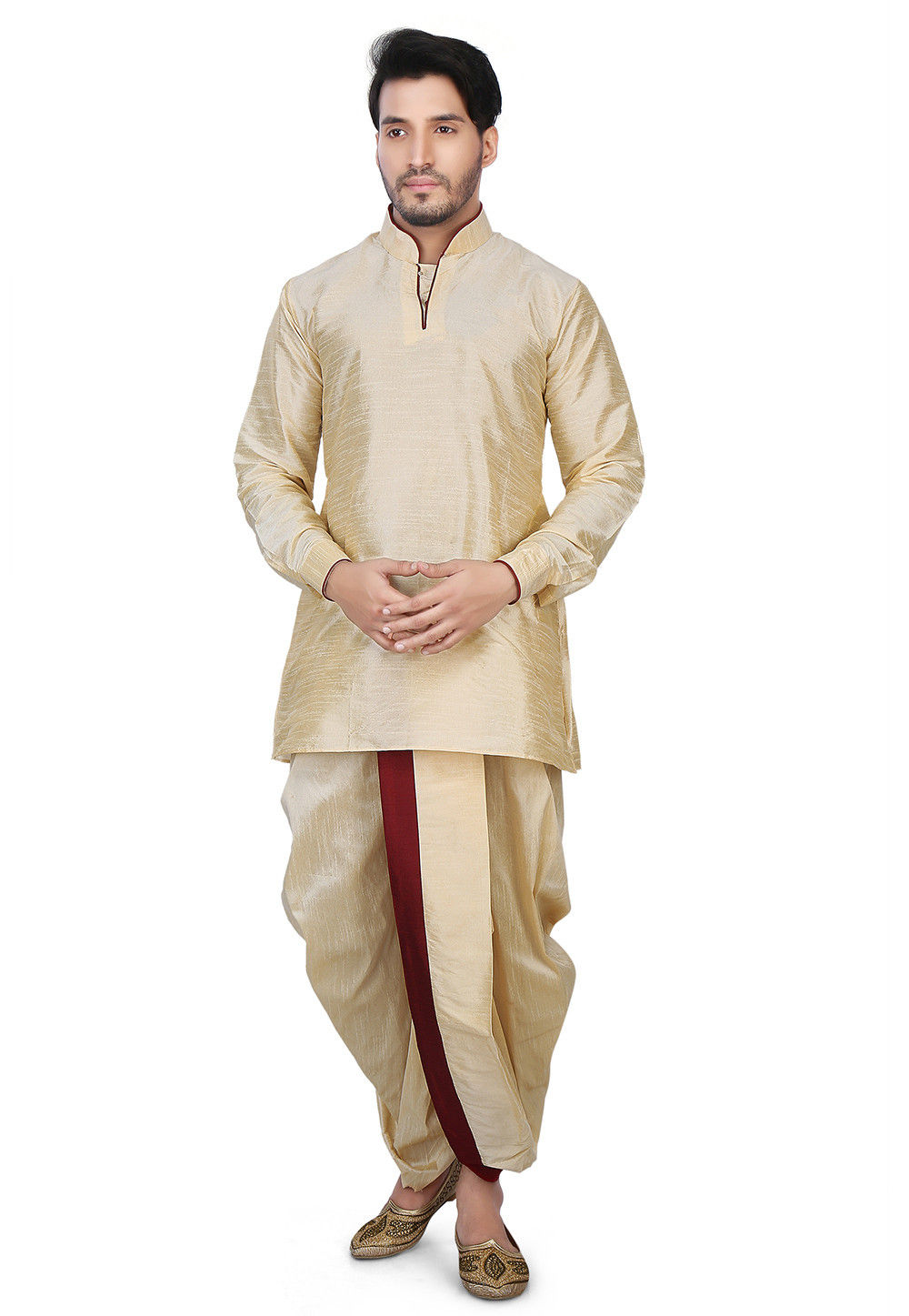 Contrast Patch Border Dupion Silk Short Dhoti Kurta in ...