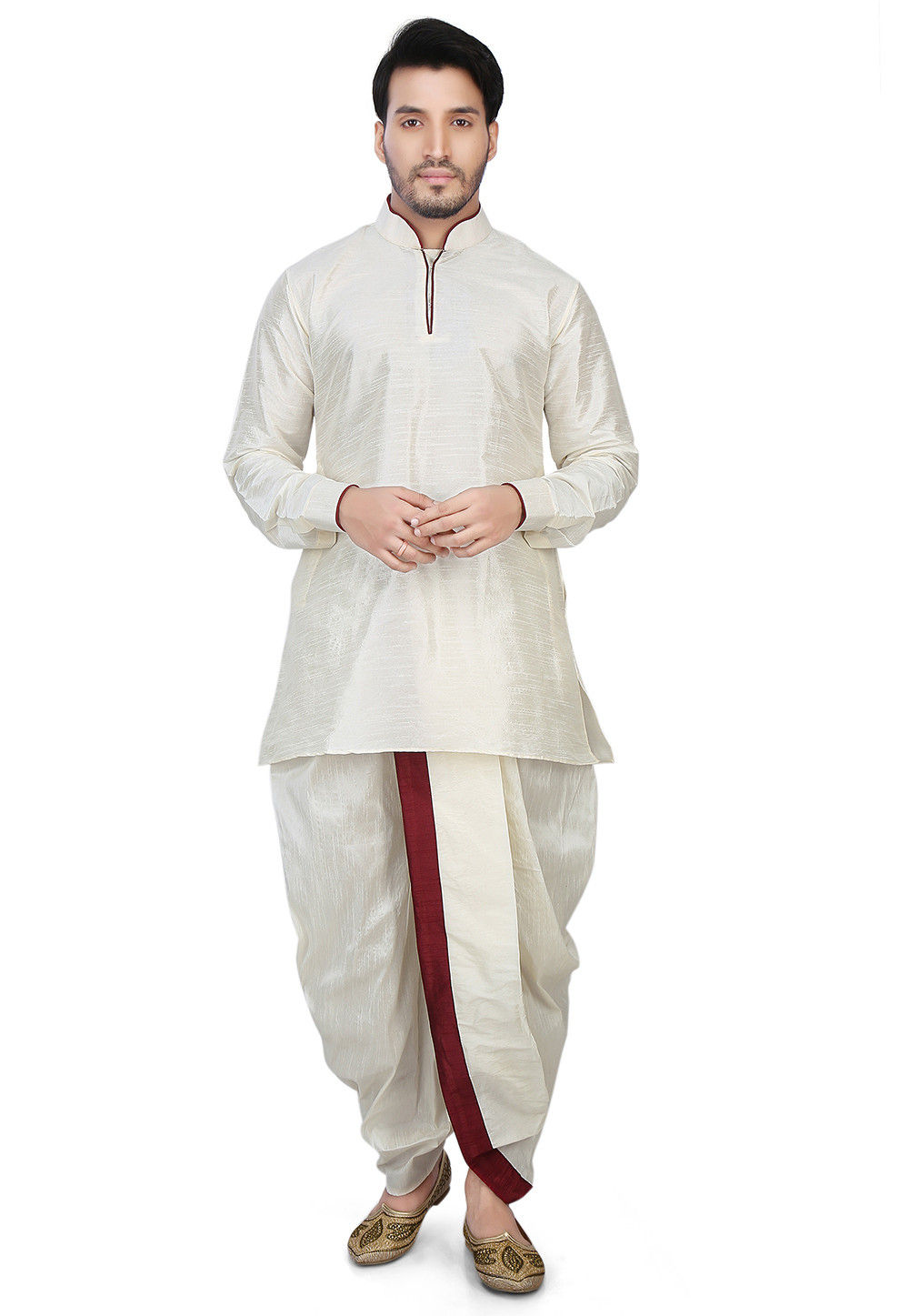 Contrast Patch Border Dupion Silk Short Dhoti Kurta in Off White